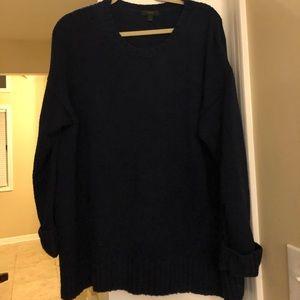 J Crew navy oversized Wool blend sweater